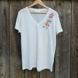 Anthropologie Deletta V-Neck Shirt with Embroidery